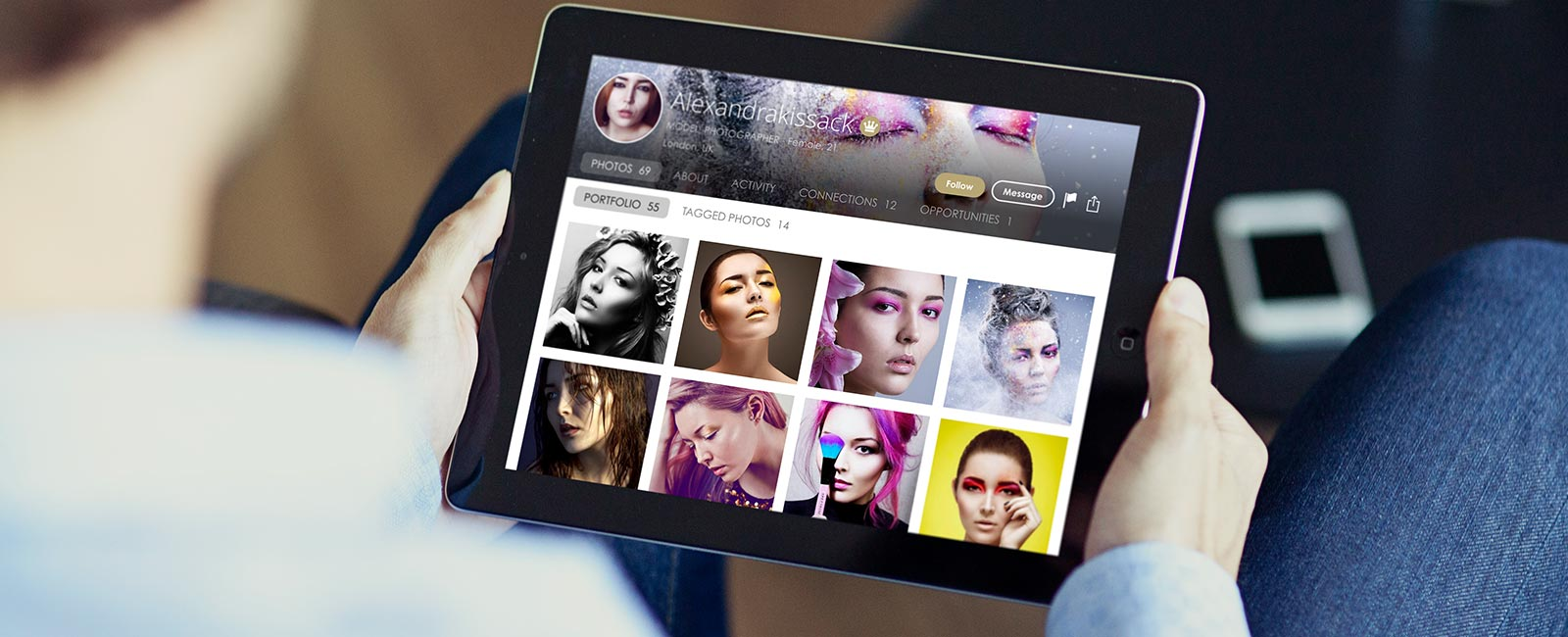 Get a free modelling portfolio that looks beautiful on your tablet, phone, or laptop